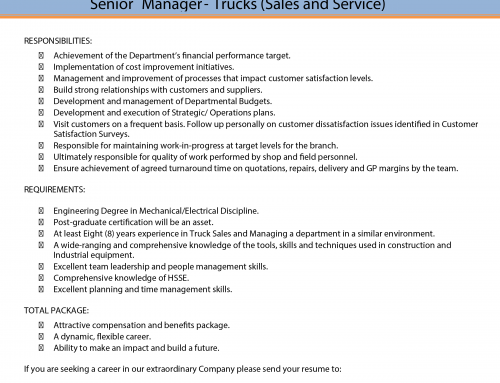 VACANCY for SENIOR TRUCK MANAGER